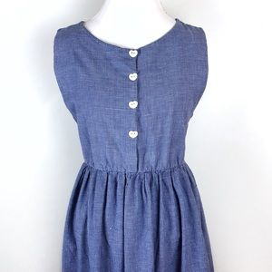 Vintage blue white sleeveless dress heart buttons